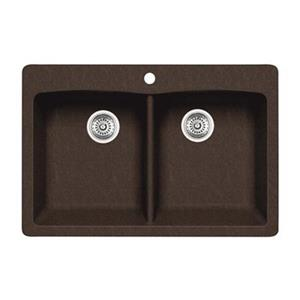 Blanco Diamond 33-in x 22-in x 9.50-in Cafe Silgranit Undermount Double Equal Bowl