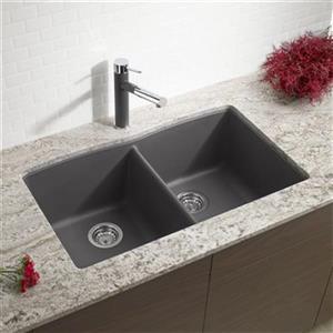 Blanco Diamond 19.25-in x 32-in Cinder Silgranit Double Bowl Kitchen Sink