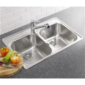 Blanco Essential 20.75-in x 31.25-in Stainless Steel Double Bowl Drop-in Kitchen Sink