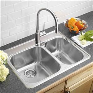 Blanco Essential 20.75-in x 27.25-in Stainless Steel Offset Bowl Drop-in Kitchen Sink