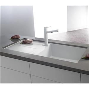 Blanco Metra X 19.75-in x 39.5-in White Silgranit Single Bowl Sink with Drainboard