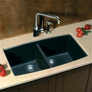 Blanco Performa 20-in x 33-in Anthracite Silgranit Undermount Double Bowl Kitchen Sink
