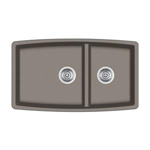 Blanco Performa 19-in x 33-in Truffle Silgranit Undermount Double Bowl Kitchen Sink