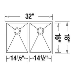 Blanco Precision 18-in x 32-in Stainless Steel Double Bowl Undermount Sink