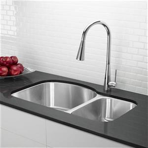 Blanco Stellar 20.5-in x 31.75-in Stainless Steel Offset Bowls Undermount Sink
