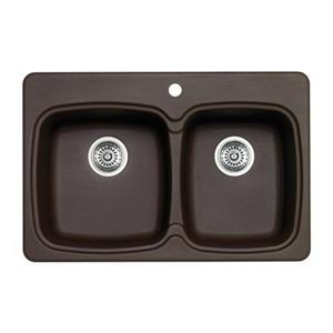 Blanco Vienna 31-in x 20.50-in x 8-in Cafe Silgranit Double Equal Bowl