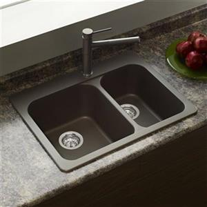 Blanco Vision 27.50-in x 20.50-in x 8-in Cafe Silgranit Drop-in Offset Double Bowl Sink