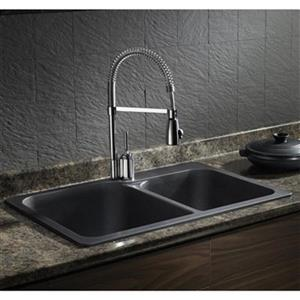 Blanco Vision 31.50-in x 20.50-in x 8-in Anthracite Silgranit Drop-in Double Offset Bowl Sink