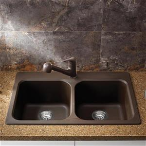 Blanco Vision Silgranit Cafe 20.5-in x 31.5-in Drop-in Double Bowl Sink