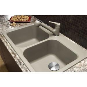 Blanco Vision Silgranit Truffle 20.5-in x 31.5-in Drop-in Double Bowl Sink