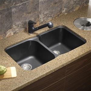 Blanco Vision Silgranit Anthracite 17.5-in x 30.75-in Double Bowl Undermount Sink