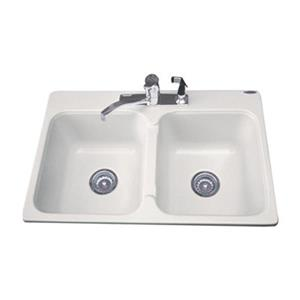 "Acri-tec Industries Dynasty Double Basin Kitchen Sink - 21"" x 32"" x 8"" - Acrylic"