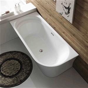 Acri-tec Industries Milla 59-in x 30.75-in White Left-Hand Semi-Freestanding Acrylic Bathtub