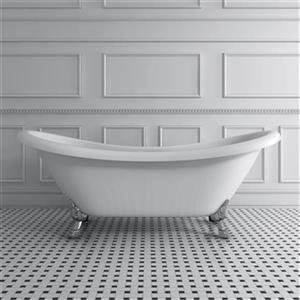 Acri-tec Industries Rhapsody 69-in x 28.25-in White with Brushed Nickel Clawfoot Bath