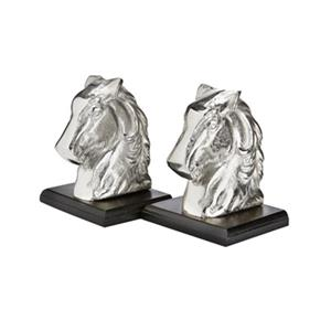 Home Gear Silver Horse Head Bookend Set Of 2