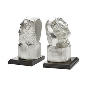 Home Gear Silver Lion Head Bookend Set Of 2