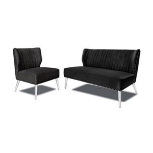 Home Gear Black Luca Settee and Chair Set