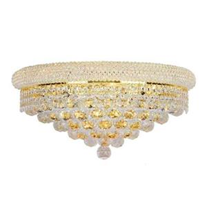 Worldwide Lighting Empire Collection Gold Crystal 4-Light Wall Sconce