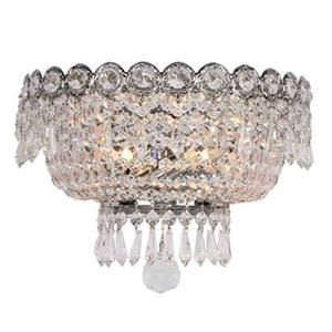 Worldwide Lighting Empire Collection Polished Chrome Crystal 2-Light Wall Sconce