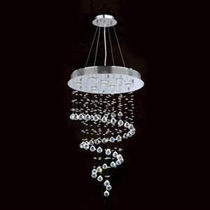 Worldwide Lighting Helix 10-Light Polished Chrome Crystal Modern Pendant Light