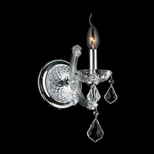 Worldwide Lighting Lyre Collection Polished Chrome Clear Single Light Wall Sconce