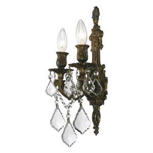Worldwide Lighting Versailles Collection Antique Bronze 2-Light Wall Sconce