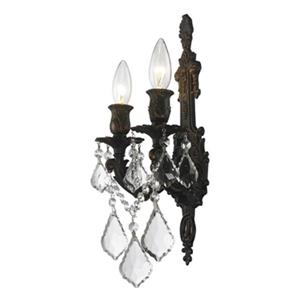 Worldwide Lighting Versailles Collection Antique Bronze 2-Light Wall Sconce