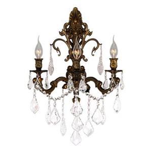 Worldwide Lighting Versailles Collection Antique Bronze 3-Light Wall Sconce
