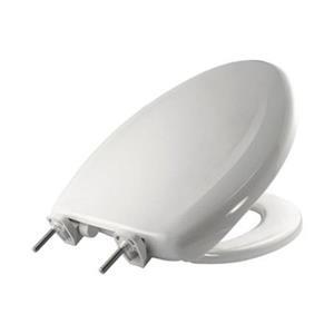 Bemis Elongated Slow-Close White Plastic Toilet Seat