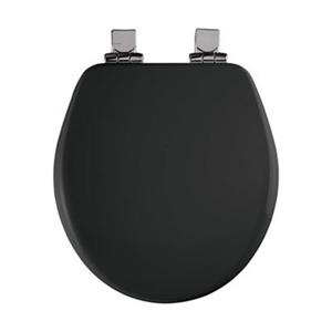 Bemis Round High Density Closed Front With Cover Molded Wood Black Toilet Seat