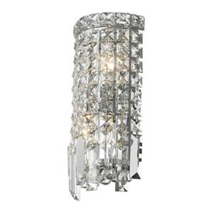 Worldwide Lighting Cascade Collection Polished Chrome Clear 2-Light Wall Sconce