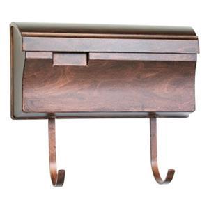 SNOC Essentials Accessories Antique Copper Horizontal Mailbox with Hooks
