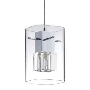 Kendal Lighting 2.90-in Chrome Mini Modern Clear Glass Rectangular Pendant