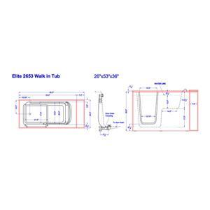 Aquam Spas 5326 LT Low Threshold Walk-in Air Bath Bath