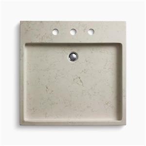 KOHLER Purist 24-in x 3-in 8-in Centerset White Carrara Marble Wading Pool Vessel Sink