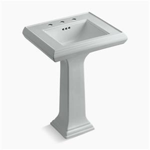 KOHLER Memoirs 34.38-in x 24-in Ice Grey Fire Clay Pedestal and Sink