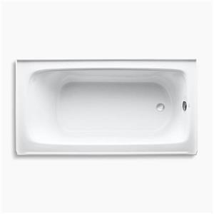 kohler 60-in x 32-in alcove bath with integral apron, tile