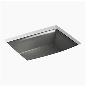 KOHLER Archer 19.88-in x 7.50-in Thunder Grey Porcelain Fire Clay Under Counter Sink