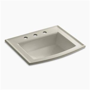 KOHLER Archer 19.44-in x 7.88-in Sandbar Porcelain Fire Clay Rectangular Self Rimming Sink with Faucet Hole