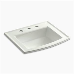KOHLER Archer 19.44-in x 7.88-in Off White Porcelain Fire Clay Rectangular Self Rimming Sink with Faucet Hole