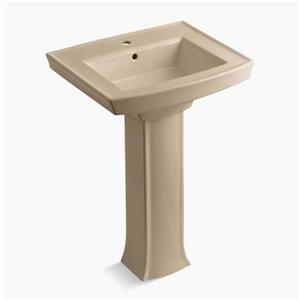 KOHLER Archer 23.94-in x 35.25-in Mexican Sand Porcelain Pedestal Sink with Faucet Hole