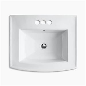 KOHLER Archer 23.94-in x 35.25-in White Porcelain Pedestal Sink with Faucet Hole
