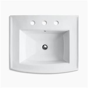 KOHLER Archer 23.94-in x 35.25-in White Pedestal Sink with Faucet Hole