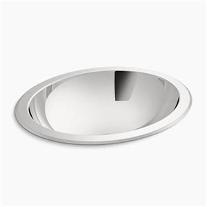 KOHLER Bachata 17 3/8-in x 14-in Stainless Steel Bathroom Sink with Overflow