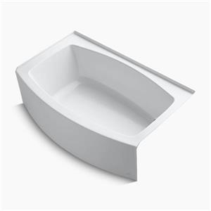 kohler 60-in x 38-in curved alcove bath with bask heated