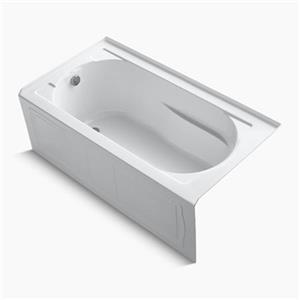 KOHLER 60-in L x 32-in W Alcove VibrAcoustic Bath with Bask Heated Surface and Tile Flange
