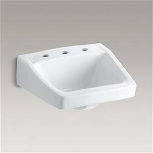 KOHLER Chesapeake 19.25-in White Wall-Mount/Concealed Arm Carrier Bathroom Sink
