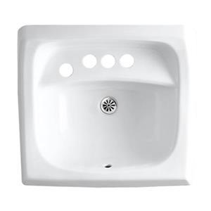 KOHLER Kingston 21.25-in White Wall-Mount/Concealed Arm Carrier Bathroom Sink