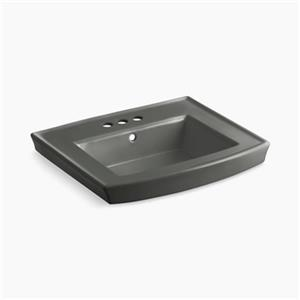 KOHLER Archer 23.94-in x 7.88-in Thunder Grey Porcelain Pedestal Sink