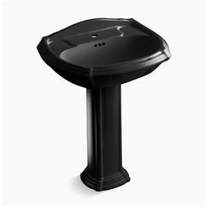 KOHLER Portrait 27-in x 36.50-in Black Porcelain Pedestal Sink